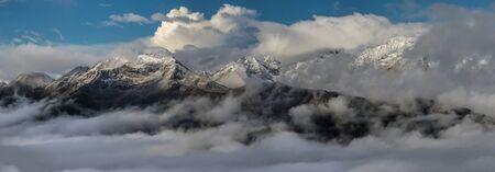 winterly: Snow-covered mountain tops at sunrise. Greater Caucasus Mountain Range. Northwest spurs Greater Caucasus Mountain Range. Caucasus mountains. Karachay-Cherkessia. Russia.