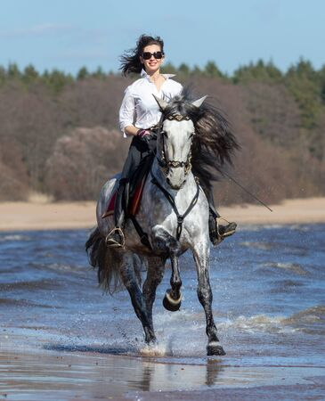 Horse woman and Spanish dapple gray horse speed running into sea with splashes