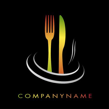 gastronomy: Illustration logotype for restaurant, cuisine, fast-food