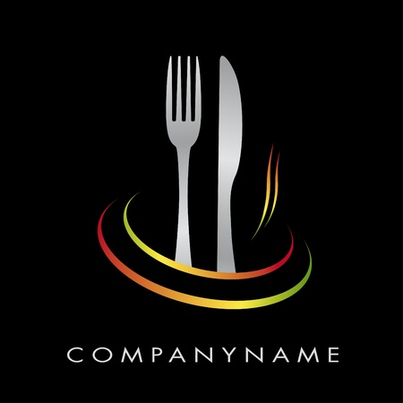 table food: Logo for restaurant, cuisine, company Illustration