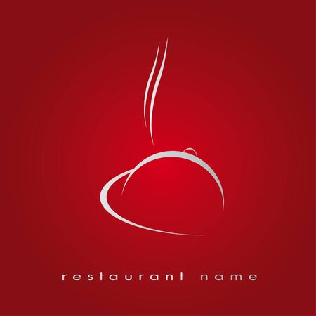 Logotype restaurant in red, hotel, gastronomy Vector