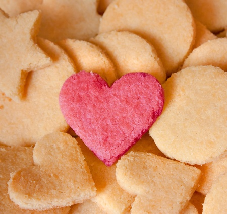 greedy: Almond Cookies with heart for love, lovers Stock Photo