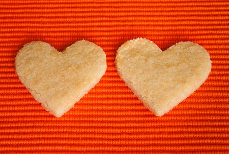 sandblasted: Almond Cookies with heart for love, lovers Stock Photo