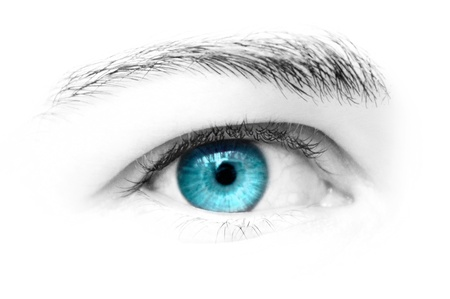 close up eyes: Blue eye of female looking straight ahead Stock Photo