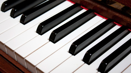 Close-up view of piano key for musical illustration Stock Photo