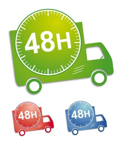 buen servicio: Adhesivo o bot�n para servicio de entrega; con los tres colores de la ilustraci�n