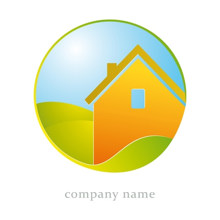 logo house: Illustration for housing business, construction, ecologicy Stock Illustratie