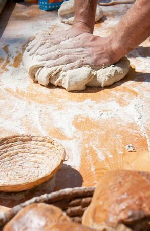 Baker kneading dough made with biological products