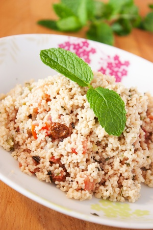 tabbouleh: Delicious Tabbouleh with its mint leaf Stock Photo