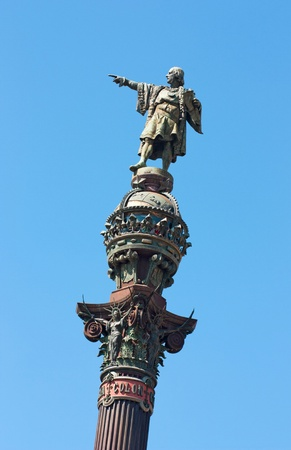 The Columbus monument showing the sea, the emblem of Barcelona photo