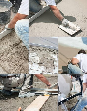 concrete form: Mason building a screed coat cement Stock Photo
