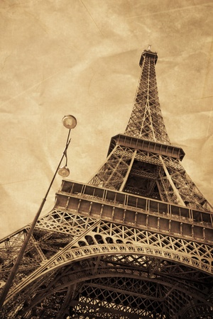 The Eiffel Tower as an old postcard from Paris