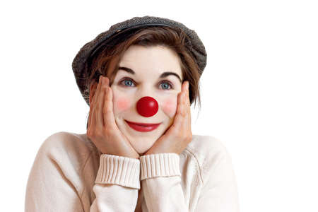 disguised: Woman in clown face in her magical world