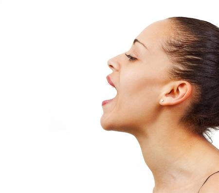 personas cantando: Mestiza canto femenino, o simplemente abriendo la boca Foto de archivo