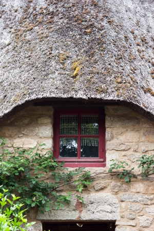 thatched cottage: Front of a thatched cottage in Brittany  France