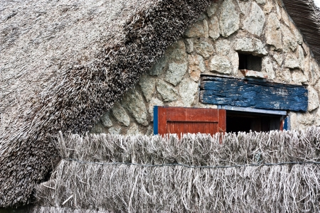 thatched cottage: Details of a thatched cottage in Brittany  France
