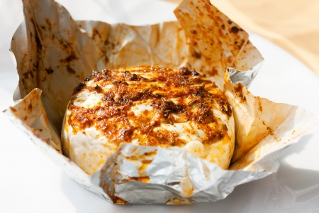 hermelin: Hermelin, Czech cheese with spices heat on barbecue