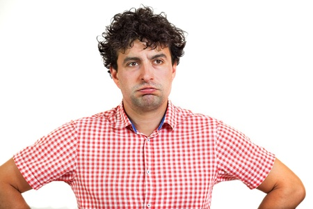 exasperated: Man looking bored or exasperated, isolated on white background