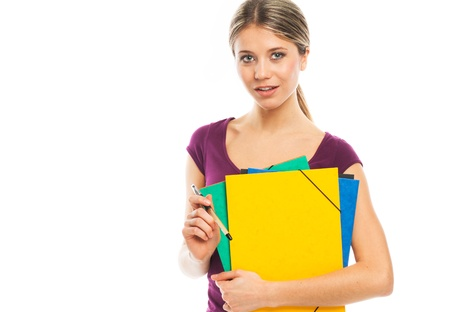 sexy school girl: Young blond woman holding folders, illustrate student or working woman, on white