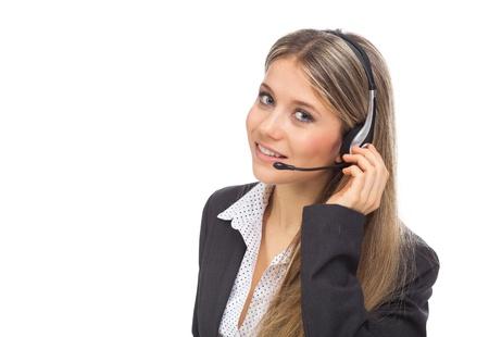 Support phone operator in headset, on white Standard-Bild