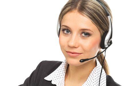 hotline: Close-up portret van een blond meisje met koptelefoon, illustreren support telefoon operator, op wit Stockfoto