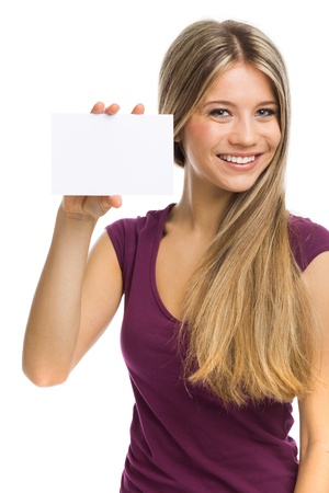 Cute young woman showing a blank signboard, on white Standard-Bild