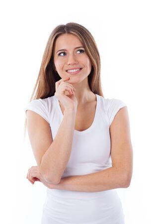 Porträt einer lächelnden Frau blickte, isoliert auf weiß Standard-Bild - 26015978