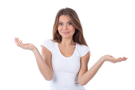 Porträt einer schönen Frau, die einen zweifelnden Geste, isoliert auf weiß Standard-Bild - 26016235