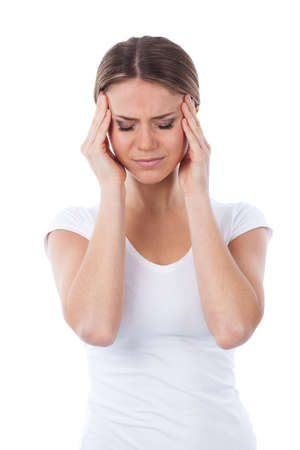 Portrait of woman with headache, isolated on white photo