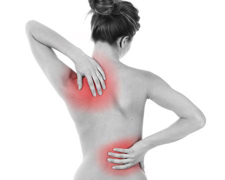 espalda: Mujer que tiene dolor de espalda, aislado en blanco Foto de archivo