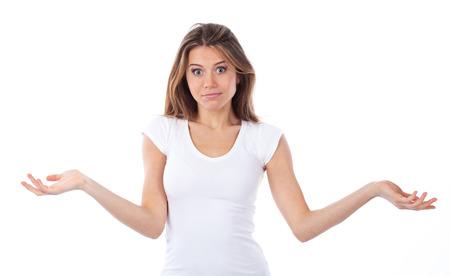 Portrait einer jungen Frau, die einen zweifelnden Geste, isoliert auf weißem Standard-Bild - 26239867
