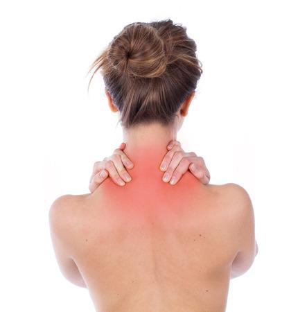 mujeres de espalda: Mujer que sufre de la espalda superior, aislado en blanco Foto de archivo