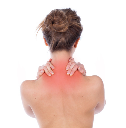 female back: Woman suffering from upper back, isolated on white Stock Photo