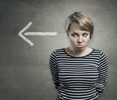 ashamed: Concept of a guilty person, confused, ashamed