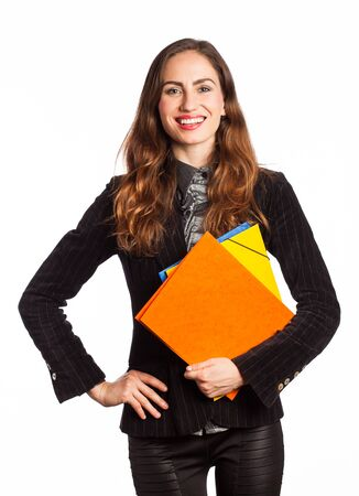 Portrait of a working girl holding some folders, isolated on white