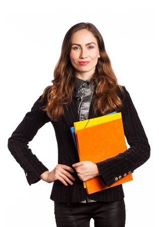 Working girl holding some folders, isolated on white