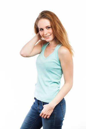 Portrait of a beautiful young woman, isolated on white Standard-Bild