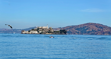 alcatraz: View of Alcatraz from Fishermans Wharf Stock Photo