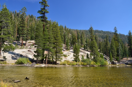 mammoth lakes: A lake in the Devils Postpile National Monument Stock Photo