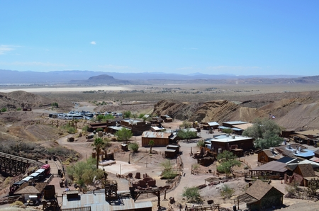 barstow: Scene in Calico Ghost Town overlooking the desert in the background