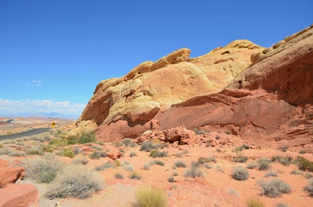 nevada desert: A panorama of desert scenery in the Valley of Fire, Nevada