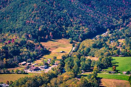 seneca: View of the Seneca Rocks township from the Seneca Rocks trail Stock Photo