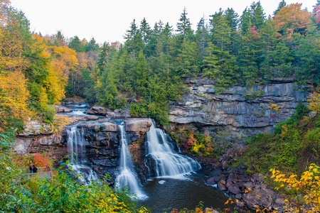 Blackwater Falls waterfall during the Fall in West Virginia, taken after sunrise Reklamní fotografie