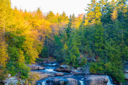 Blackwater Falls waterfall during the Fall in West Virginia, taken after sunrise Stock Photo