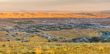 Looking over the town of Rock Springs from Wild Horse Scenic Loop Stock Photo