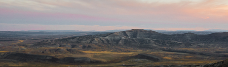 uplift: Wilkins Peak at sunset. As viewed from Wild Horse Scenic loop near Green River, Wyoming. Stock Photo