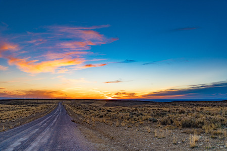 Sunset at Wild Horse Scenic Loop, Wyoming Stock Photo