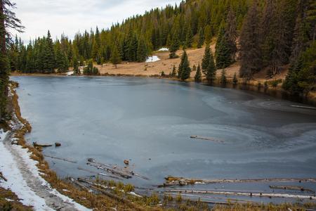 frozen lake: Lake Irene frozen over in Rocky Mountain National Park