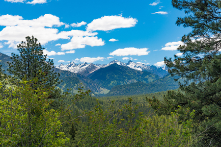 sawtooth national forest: Overlooking mountains on the Ponderosa Pines Scenic Byway Stock Photo