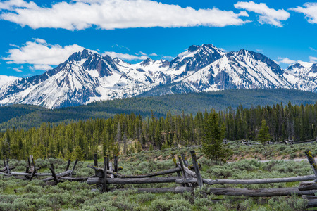 A snow-capped mountain along the Sawtooth Scenic Byway in Idaho Stok Fotoğraf